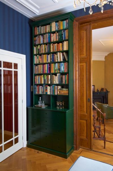 Houten laden/boekenkasten groen